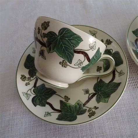 Porcelain cup and saucer with ivy decor