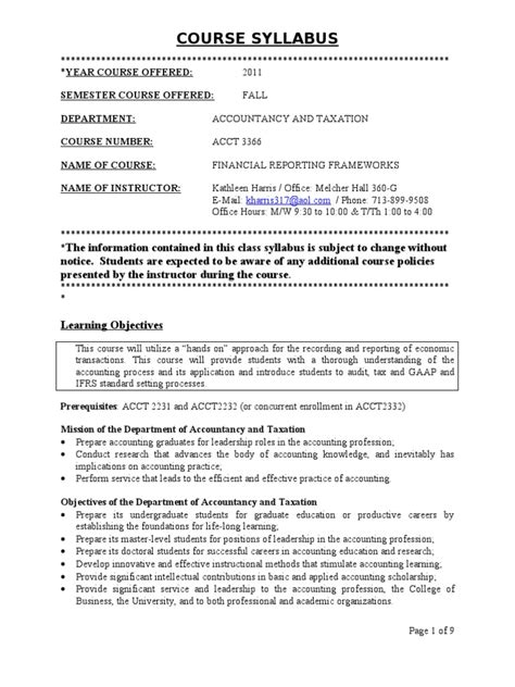 Syllabus A3366 Fall 2011 for PSoft Harris   Email   Accounting