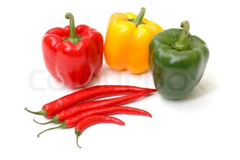 Chili pepper and paprika on white background | Stock Photo